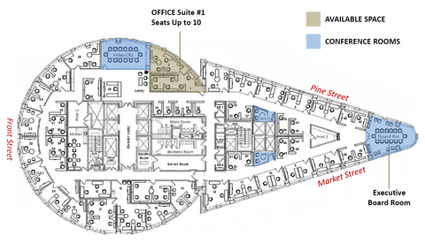Raven Office Centers and Executive Suites at 388 Market Street San Francisco Floor Plan