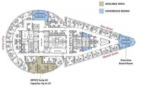 Raven Office Centers and Executive Suites at 388 Market Street in San Francisco | Floor Plan of Executive Office Suites for rent