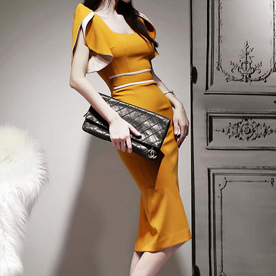 YELLOW FITTING COCKTAIL DRESS