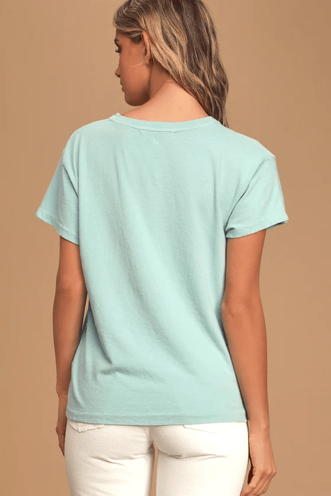 Palm Springs Tour Light Blue Graphic Boyfriend Tee - Highfalutin' Hippy Chick