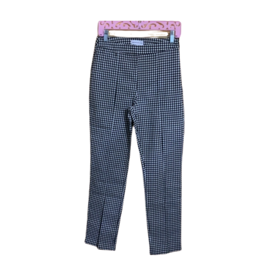 Checkered Fitted Front Slit Pants