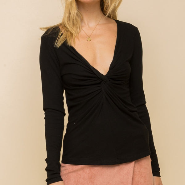 Twist Front V Neck Ribbed Top
