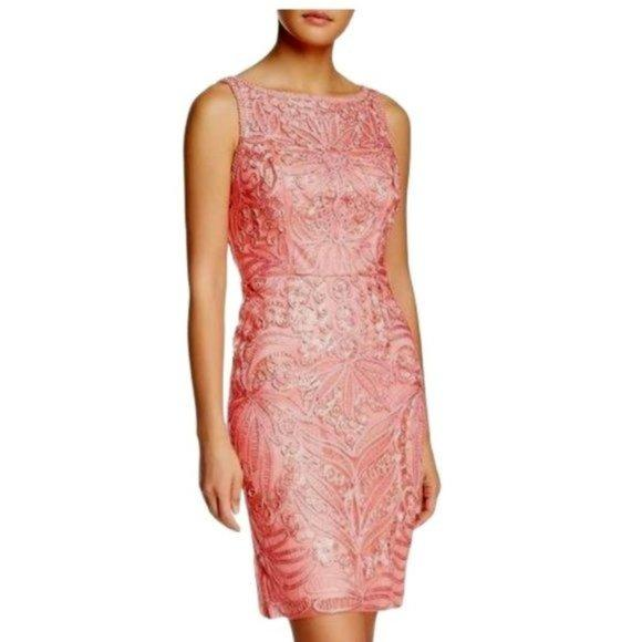 Sue Wong Ribbon Mesh Dress in Coral - Highfalutin' Hippy Chick