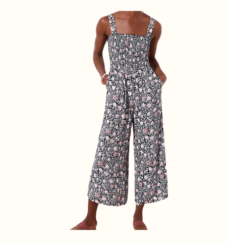 Floral Smocked Jumpsuit size 14 - Highfalutin' Hippy Chick