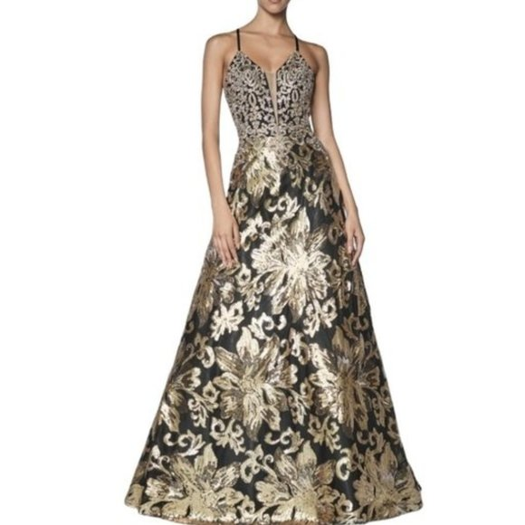 black and gold gown