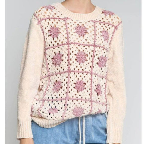 cream ivory crochet sweater