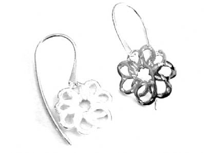 Silver Drop Earrings - A6160.