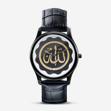 Load image into Gallery viewer, Allah Goldenseal Black on Black Quartz Watch for Sisters with Arabic Script