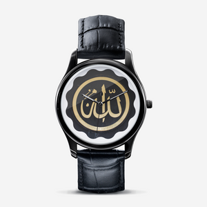 Allah Goldenseal Black on Black Quartz Watch for Sisters with Arabic Script