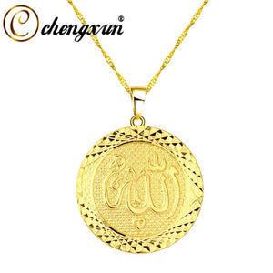 CHENGXUN Gold Color Allah Pendant Necklace Chain for Men Women Middle East Arab Jewelry Muslim Item Islam Items Wholesales Gift