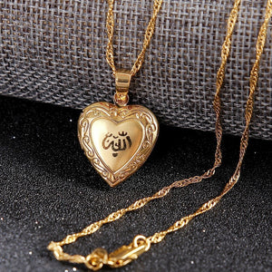 Heart allah pendant Jewelry For Women 14 K Solid Gold FINISH Muslim Heart Allah Open Heart Pendant Necklace With Chain