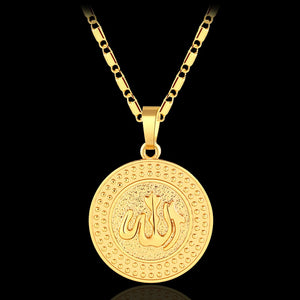 New arrival Round Middle East Muslim Allah pendant necklace for women/men Gold/Silver color Religious jewelry Accessories gift