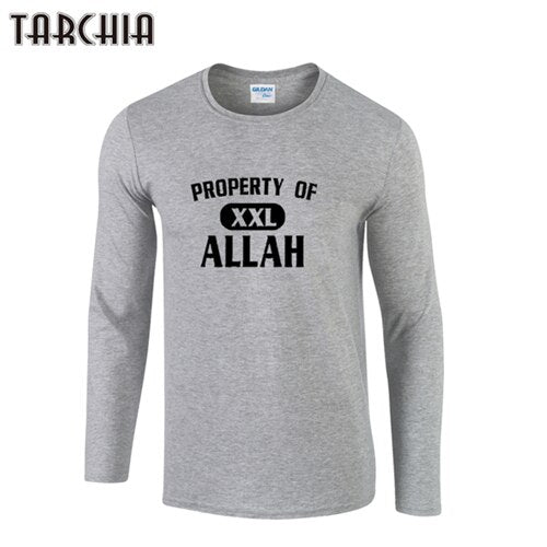 TARCHIA 2019 Brand tops tee property allah fitness Long Sleeve Men o-neck T-Shirt 100% Cotton Plus Size t shirt Funny  Homme