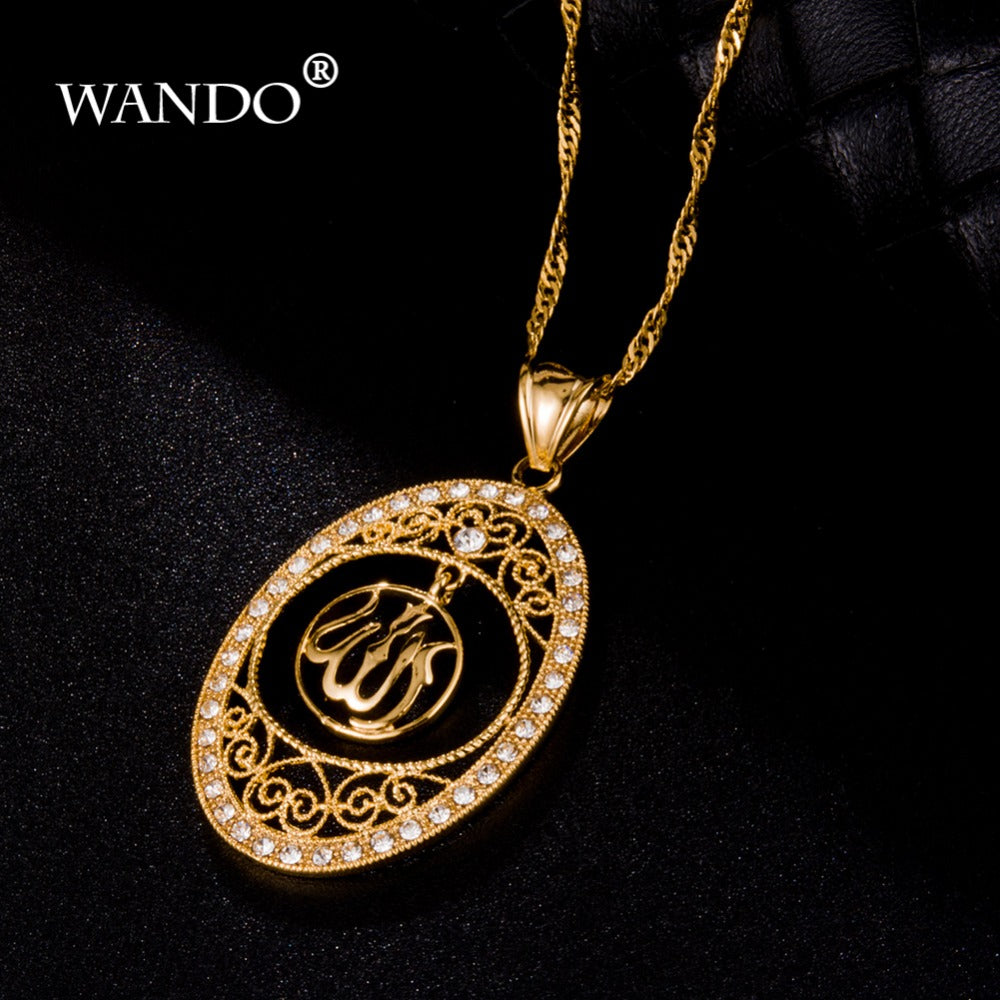 WANDO Vintage Religious Islamic Pendant Wholesale Male Women Gold Color Figaro Chain Round Punk Allah Pendant Gift p6