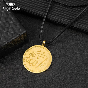 Middle East Islam Quran AYATUL KURSI ALLAH Stainless Steel Pendant Necklace Muslim Arabic God Messager Jewelry