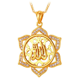 U7 Big Flower Islamic Jewelry Gold Color Rhinestone Crystal Vintage Arabians Allah Necklaces & Pendants For Women Gift P328