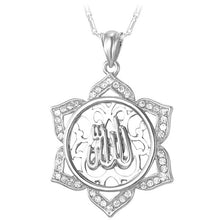 Load image into Gallery viewer, U7 Big Flower Islamic Jewelry Gold Color Rhinestone Crystal Vintage Arabians Allah Necklaces & Pendants For Women Gift P328