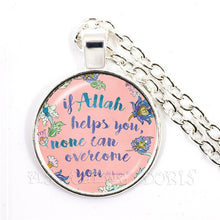 Load image into Gallery viewer, If Allah Helps You, None Can Overcome You Necklace For Men Women Arabic Muslim Islamic God Allah Pendant Religious Jewelry Gift