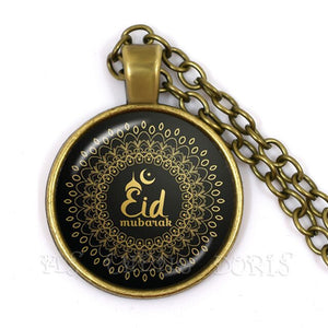 Gold-color 25mm Glass Muslim Islamic Allah Arab Muslim Necklace For Muhammad Religious Middle Jewelry Ramadan Gift For Friends