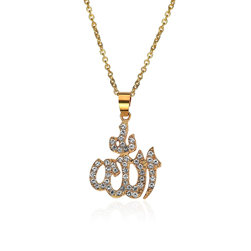 Copper Men Gold Iced Out Muslim Allah Pendant Necklace Hiphop Cuban Chain Islamic Koran Rhinestone Letter Long Necklace