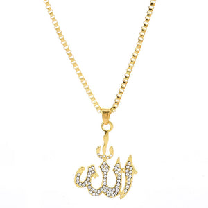 Crystal Pendant Necklace Gifts Sweater Chain Necklaces Best Gifts Allah Gold Plating Necklace Chain Simulated Anchor Islamic
