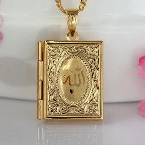 Fashion New Gold Color Islam Allah Muslim Necklace Quran Koran Book Loket Box Pendant With Chain Muhammad Religion Jewelry Gift