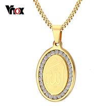 Load image into Gallery viewer, Vnox Muslim Islam God Allah Necklace inlay CZ Stone Free Chain 24""