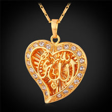 Load image into Gallery viewer, U7 Classic Arabic Muslim Jewelry Wholesale Gold Color Crystal Hollow Heart Shape Allah Pendants Necklaces For Women P558