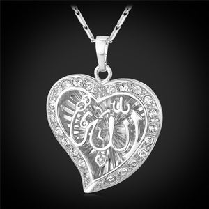 U7 Classic Arabic Muslim Jewelry Wholesale Gold Color Crystal Hollow Heart Shape Allah Pendants Necklaces For Women P558