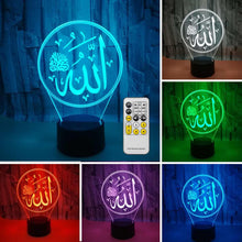 Load image into Gallery viewer, Islamic Allah Lights Lamp 3D Light Acrylic Colorful Muslim USB LED Desk Lamp Remote Control Light for Believers