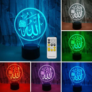 Islamic Allah Lights Lamp 3D Light Acrylic Colorful Muslim USB LED Desk Lamp Remote Control Light for Believers