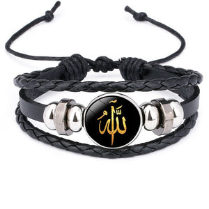 Allah rope-style multilayered leather bracelet