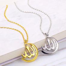 Load image into Gallery viewer, Arabic Necklace Women Gold Color Muslim Islamic Allah Charm Necklace Jewelry Moon Pendant Crystal Religion Necklace