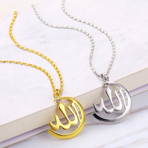 Arabic Necklace Women Gold Color Muslim Islamic Allah Charm Necklace Jewelry Moon Pendant Crystal Religion Necklace