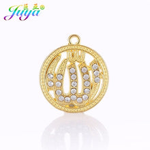 Load image into Gallery viewer, Juya Islamic Jewelry Supplies Gold/Silver Color Cz Rhinestones Allah Charms For Qamis Religious Muslim Jewelry Making