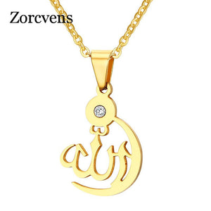 ZORCVENS Muslim Islam God Allah Pendant Necklace Titanium Steel Chain Gold-color Allah Necklace Women Jewelry
