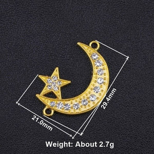 Juya 5pcs Wholesale Religious Islamic Muslim Allah Charms Cz Rhinestones Crescent Pendants For Eid al-Fitr Gift Jewelry Making