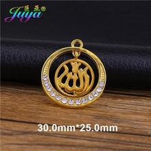 Load image into Gallery viewer, Juya 5pcs Wholesale Religious Islamic Muslim Allah Charms Cz Rhinestones Crescent Pendants For Eid al-Fitr Gift Jewelry Making
