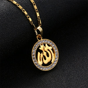 wholesale Islamic Allah Muslim Pendant Necklace Men/Women Jewelry Cubic Zirconia Moon And Star Religion Muslim Jewelry Women
