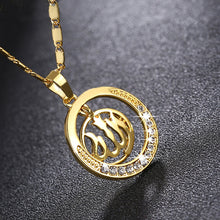 Load image into Gallery viewer, Gold Middle Eastern Muslim Necklace Round Pendant for Men Woman Islam Allah Rhinestone Necklaces Religious Male Jewelry