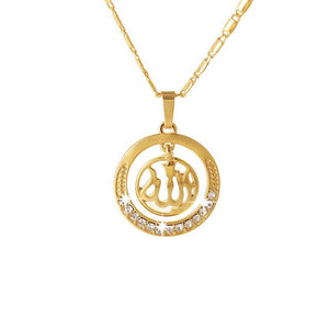 Gold Middle Eastern Muslim Necklace Round Pendant for Men Woman Islam Allah Rhinestone Necklaces Religious Male Jewelry