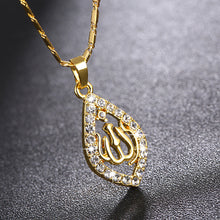 Load image into Gallery viewer, Zirconia Arabic Islamic Religious Women God Allah Crystal Rhinestone Pendant Necklace Jewelry Muslim Ramadan Gift for woman