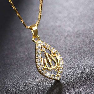 Zirconia Arabic Islamic Religious Women God Allah Crystal Rhinestone Pendant Necklace Jewelry Muslim Ramadan Gift for woman
