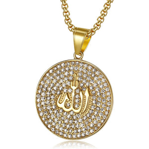 Religious Round Allah Pendant Necklaces Gold Color Stainless Steel Iced Out Cubic Zirconia Necklace Islamic Jewelry Dropshipping