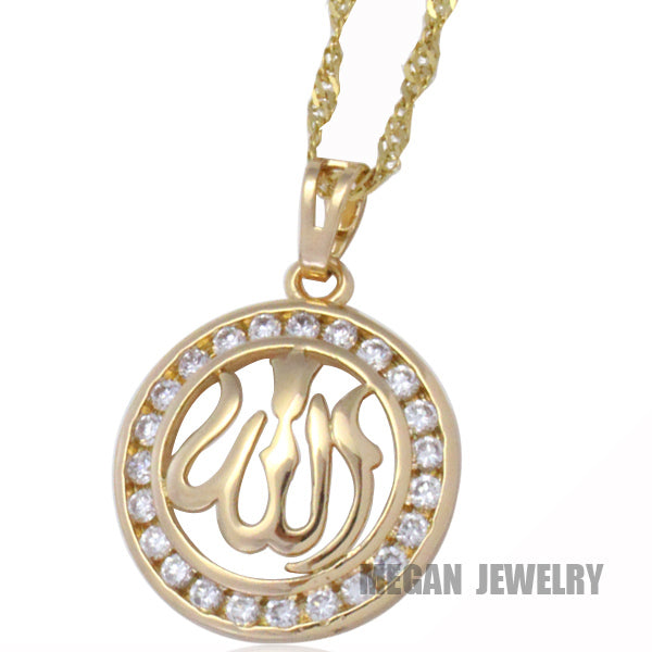 muslim allah crystal pendant & necklace for women & men, charm Islam fashion Jewelry & gift