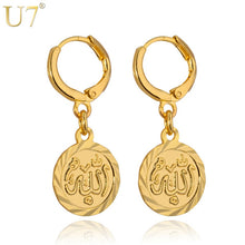 Load image into Gallery viewer, U7 Allah Earrings Trendy Gold Color Women Fashion Islamic Jewelry Muslim Wholesale Round Dangle Drop Earrings E405