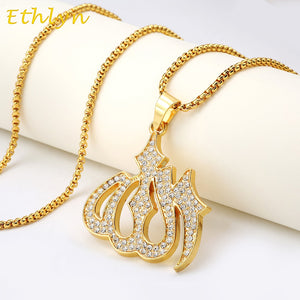 Ethlyn Gold Color big Allah Pendant Necklaces Unisex Ahmed Arab Islam Mohammad Muslim Middle Eastern Allah pendant P044