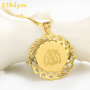 Ethlyn Yellow Gold Color Allah Necklaces Chain&Charm Pendants Exquisite Islam Flag Muslim Mohammed Prophet Jewelry P064