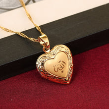 Load image into Gallery viewer, Heart allah pendant Jewelry For Women 24K Gold Color Muslim Heart Allah Open Heart Pendant Necklace With Chain