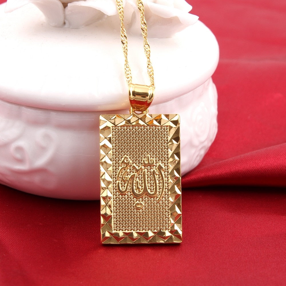 Square Islamic Allah Gold Plated Necklace